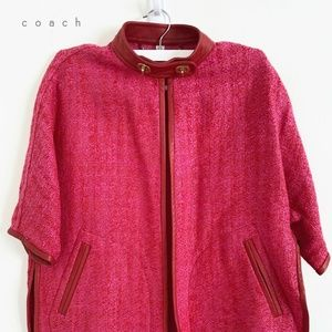 Coach leather-trimmed jacket in magenta fabric